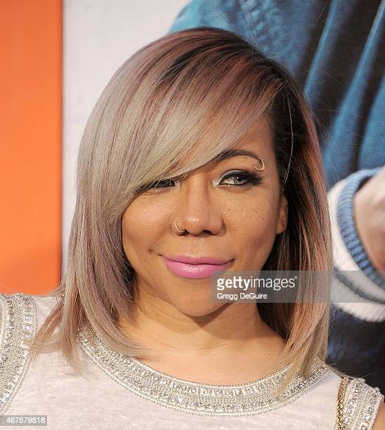 Tameka 'Tiny' CottleHarris arrives at the Los Angeles premiere of 'Get Hard' at TCL Chinese Theatre IMAX on March 25 2015 in Hollywood California