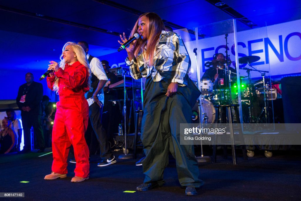 Tameka 'Tiny' Harris (L) and LaTocha Scott of Xscape perform onstage at the 2017 ESSENCE Festival Presented By Coca Cola at the Mercedes-Benz Superdome on July 2, 2017 in New Orleans, Louisiana.