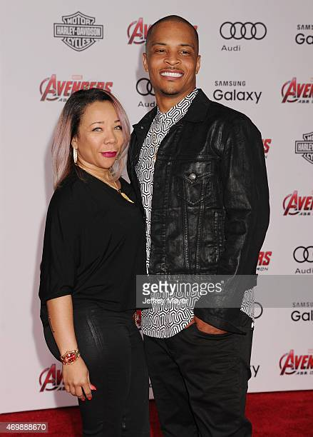 Tameka 'Tiny' Harris and recording artist Cliffors 'TI' Harris arrive at the Marvel's 'Avengers Age Of Ultron' Los Angeles Premiere at Dolby Theatre...