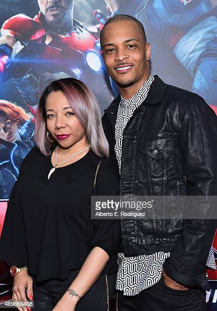 Tameka 'Tiny' Harris and recording artist Cliffors 'TI' Harris attend the world premiere of Marvel's 'Avengers Age Of Ultron' at the Dolby Theatre on...