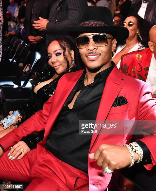 """Tameka """"Tiny"""" Harris and T.I. Attend 2019 World Lightweight & World Light Heavy Weight Championships at State Farm Arena on December 28, 2019 in..."""