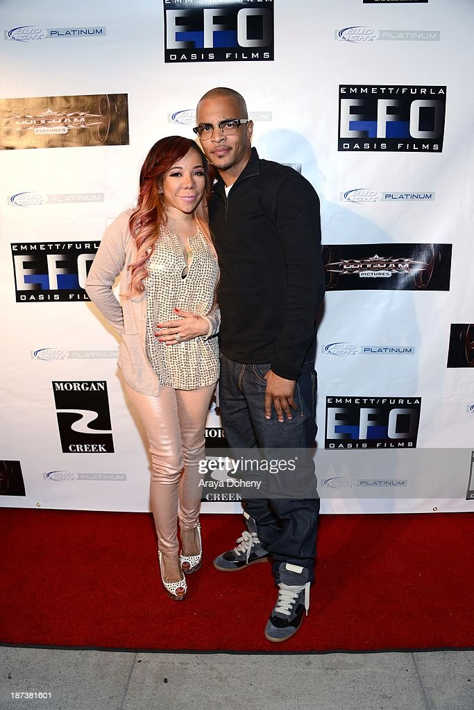 Tameka 'Tiny' Harris and T.I. attend the Emmett/Furla/Oasis Films hosts celebration for the upcoming production of 'Tupac' at Zanzibar on November 7, 2013 in Santa Monica, California.