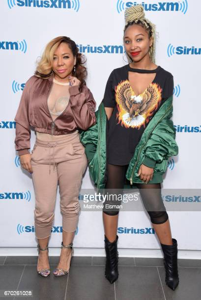 "Tameka ""Tiny"" Harris and Zonnique Jailee Pullins visit SiriusXM Studios on April 19, 2017 in New York City."