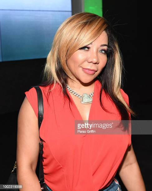 """Tameka """"Tiny"""" Harris attends """"The Grand Hustle"""" Exclusive Viewing Party at The Gathering Spot on July 19, 2018 in Atlanta, Georgia."""