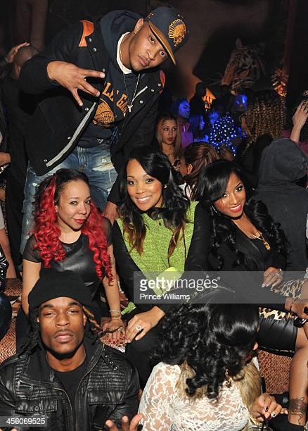 I Tameka Tiny Harris Monica and Antonia Toya Wright attend a party at Vanquish Lounge on December 12 2013 in Atlanta Georgia