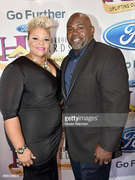 Tamela J Mann and David Mann attend the 2015 Ford Neighborhood Awards Hosted By Steve Harvey at Phillips Arena on August 8 2015 in Atlanta Georgia