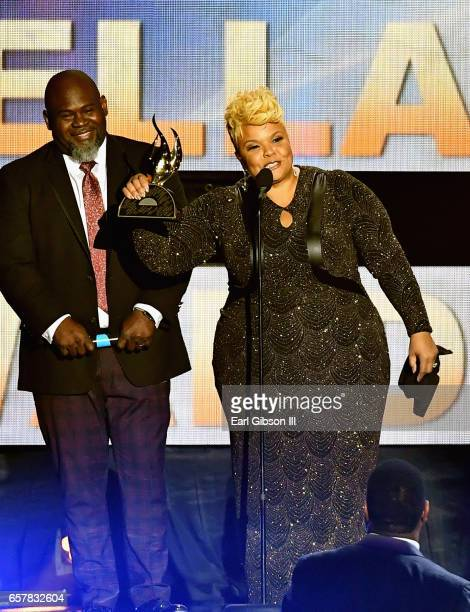 Tamela Mann aceepts the award for ATT Artist of the Year during the 32nd annual Stellar Gospel Music Awards at the Orleans Arena on March 25 2017 in...