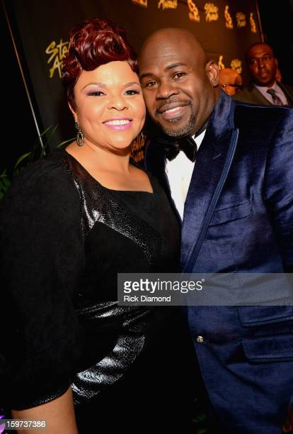 Tamela Mann and David Mann arrive at the 28th Annual Stellar Awards at Grand Ole Opry House on January 19 2013 in Nashville Tennessee