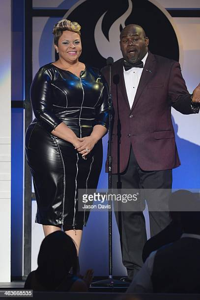 Tamela Mann and David Mann attend the 29th Annual Stellar Awards at Nashville Municipal Auditorium on January 18 2014 in Nashville Tennessee