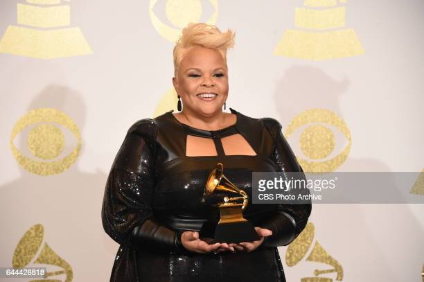 Tamela Mann poses for photographs backstage at THE 59TH ANNUAL GRAMMY AWARDS broadcast live from the STAPLES Center in Los Angeles Sunday Feb 12 on...