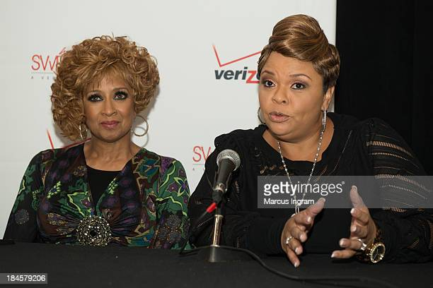 Tamela Mann speaking to Press during Verizon's How Sweet the Sound 2013 with Dorinda ClarkCole at Boisfeuillet Jones Atlanta Civic Center on October...