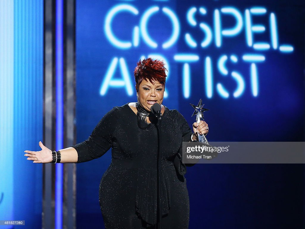 Tamela Mann speaks onstage during the 'BET AWARDS' 14 held at Nokia Theater L.A. LIVE on June 29, 2014 in Los Angeles, California.
