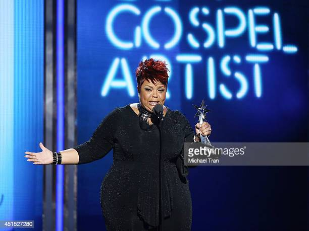 Tamela Mann speaks onstage during the BET AWARDS 14 held at Nokia Theater LA LIVE on June 29 2014 in Los Angeles California