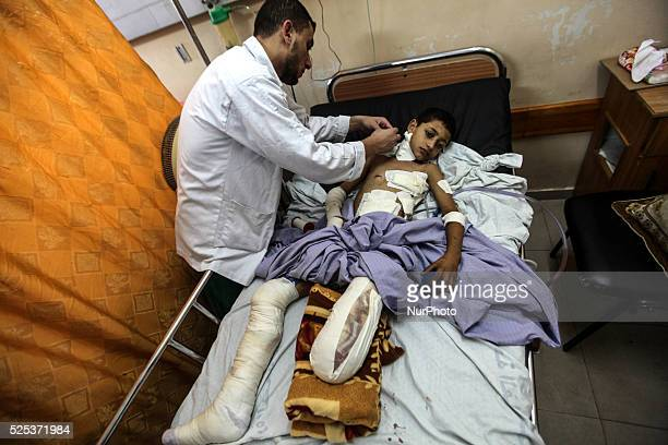 Tamer Badawi 12 years waiting for treatment in the orthopedic ward after serious injury caused amputation of the foot in Shifa Hospital in Gaza on...