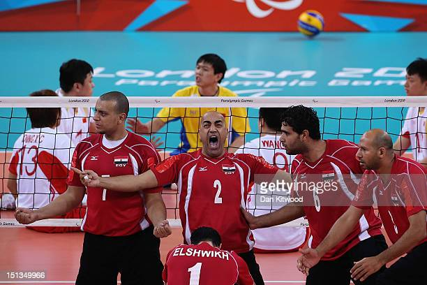 Tamer Morgan Khalil of Egypt celebrates a point during the men's Sitting Volleyball 58 Clasification match against China on day 8 of the London 2012...