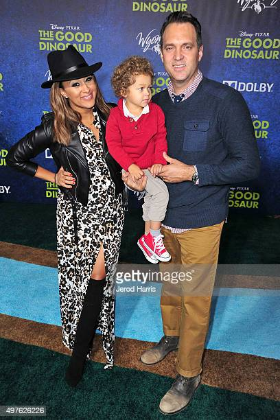 Tamera Mowry Aden John Tanner Housley and Adam Housley arrive at the Premiere of DisneyPixar's 'The Good Dinosaur' on November 17 2015 in Hollywood...