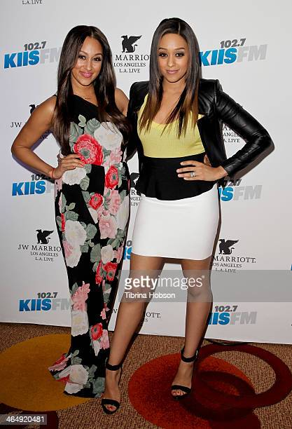 Tamera Mowry and Tia Mowry attend the KIIS 102.7 and ALT 98.7 FM pre-Grammy party and lounge at JW Marriott Los Angeles at L.A. LIVE on January 24,...