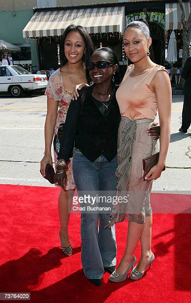 Tamera Mowry Darlene Mowry and Tia Mowry arrive at the Sony Pictures premiere of the film 'Are We Done Yet' at The Mann Village Theatre April 1 2007...
