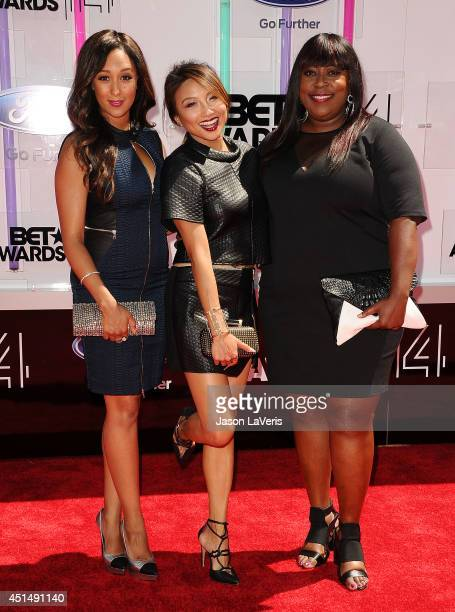 Tamera Mowry Jeannie Mai and Loni Love attend the 2014 BET Awards at Nokia Plaza LA LIVE on June 29 2014 in Los Angeles California