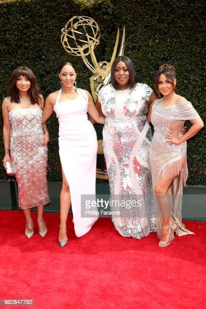 Tamera Mowry Loni Love Jeannie Mai and Adrienne Bailon attend the 45th annual Daytime Emmy Awards at Pasadena Civic Auditorium on April 29 2018 in...