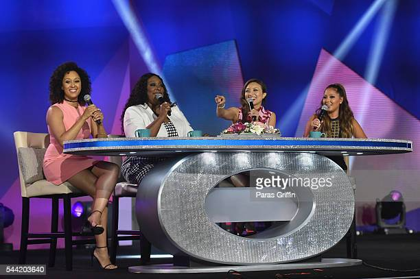 Tamera Mowry, Loni Love, Jeannie Mai, and Adrienne Bailon, of The Real speak onstage at the 2016 ESSENCE Festival Presented By Coca-Cola at Ernest N....