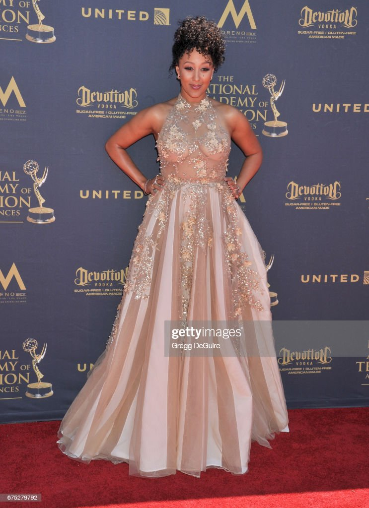 Tamera Mowry-Housley arrives at the 44th Annual Daytime Emmy Awards at Pasadena Civic Auditorium on April 30, 2017 in Pasadena, California.