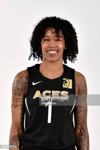 Tamera Young of the Las Vegas Aces poses for a head shot at WNBA Media Day at MGM Grand Garden Arena on May 3 2018 in Las Vegas Nevada NOTE TO USER...