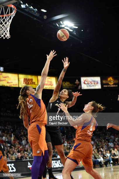 Tamera Young of the Las Vegas Aces shoots the ball against the Phoenix Mercury on August 1 2018 at the Mandalay Bay Events Center in Las Vegas Nevada...
