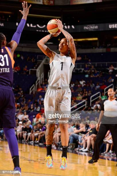 Tamera Young of the Las Vegas Aces shoots the ball against the Phoenix Mercury on June 10 2018 at Talking Stick Resort Arena in Phoenix Arizona NOTE...