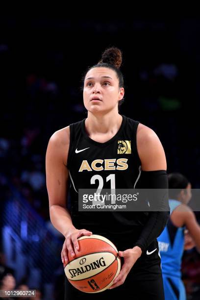 Tamera Young of the Las Vegas Aces shoots the ball during the game against the Atlanta Dream on August 07 2018 at McCamish Pavilion in Atlanta...