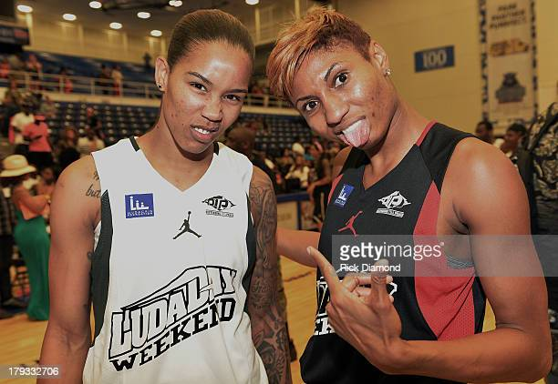 Tamera Young WNBA Chicago Sky and Angel McCoughtry WNBA Atlanta Dream during Neuro Drinks At LudaDay Weekend Celebrity Basketball Game at GSU Sports...