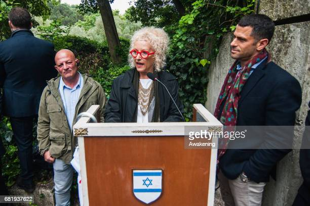 Tami Katz-Freiman, mayor of the city of Tel Aviv, attends at the opening of the Israel pavilion, presenting the project 'Sun Stand Still' of Gal...