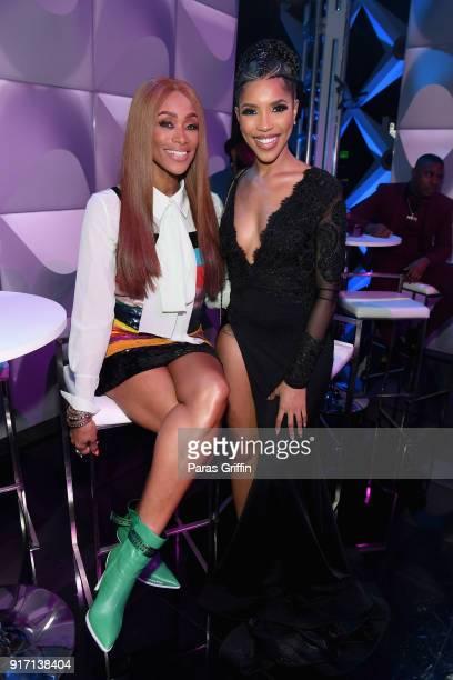 Tami Roman and Jasmin Brown attend BET's Social Awards 2018 at Tyler Perry Studio on February 11 2018 in Atlanta Georgia