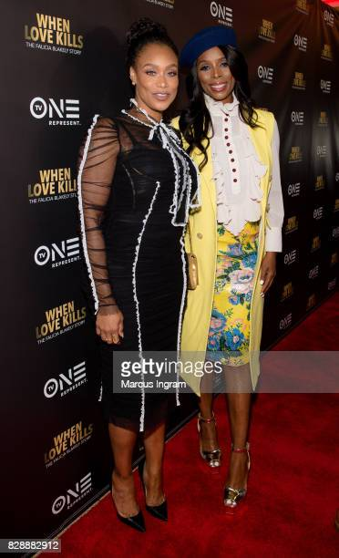 Tami Roman and Tasha Smith attend the 'When Love Kills The Falicia Blakely Story' movie screening at Regal Atlantic Station on August 9 2017 in...