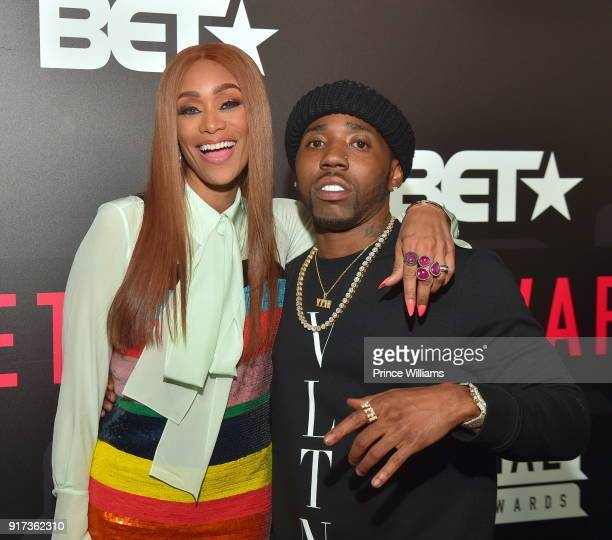 Tami Roman and YFN Lucci attend BET Social Awards Red Carpet at Tyler Perry Studio on February 11 2018 in Atlanta Georgia