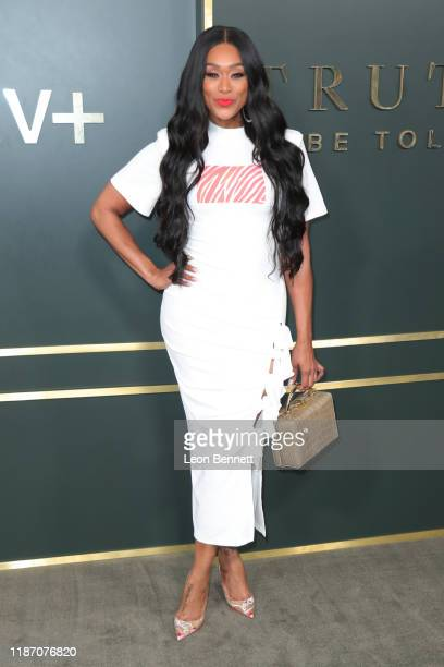 Tami Roman attends Premiere Of Apple TV's Truth Be Told at AMPAS Samuel Goldwyn Theater on November 11 2019 in Beverly Hills California