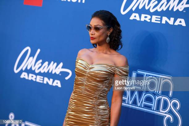 Tami Roman attends the 2018 Soul Train Awards presented by BET at the Orleans Arena on November 17 2018 in Las Vegas Nevada