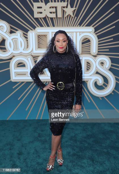Tami Roman attends the 2019 Soul Train Awards presented by BET at the Orleans Arena on November 17 2019 in Las Vegas Nevada