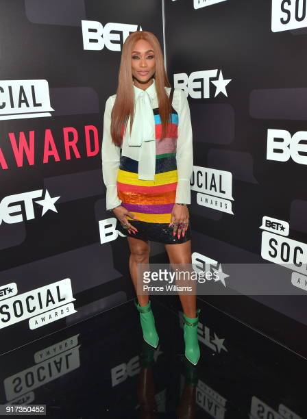 Tami Roman attends the BET Social Awards Red Carpet at Tyler Perry Studio on February 11 2018 in Atlanta Georgia
