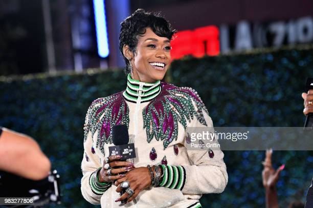 Tami Roman speaks onstage at the After Party Live sponsored by Ciroc at the 2018 BET Awards Post Show at Microsoft Theater on June 24 2018 in Los...