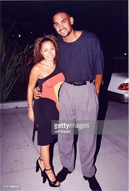 Tamia and Grant Hill during 1997 Tommy Hilfiger Party at Morton's in Los Angeles California United States