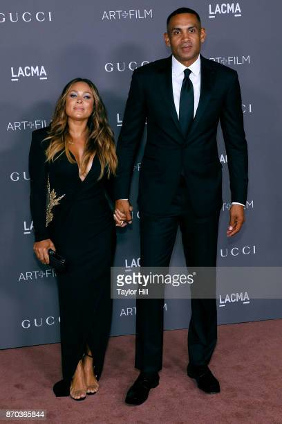 Tamia Hill and Grant Hill attend the 2017 LACMA Art Film Gala Honoring Mark Bradford And George Lucas at LACMA on November 4 2017 in Los Angeles...