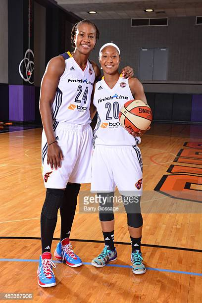 Tamika Catchings and Briann January of the Indiana Fever poses for a portrait prior to the 2014 Boost Mobile WNBA AllStar Game on July 19 2014 at US...