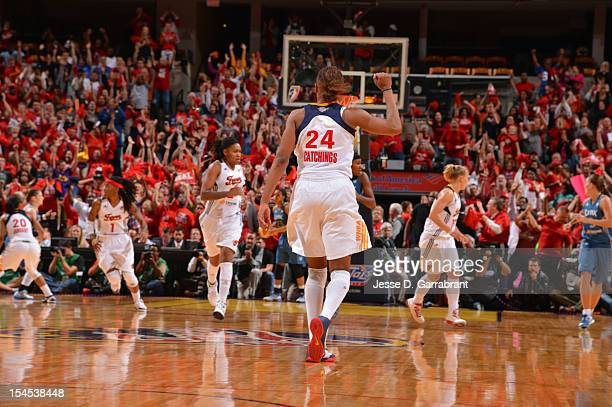 Tamika Catchings of the Indiana Fever celebrates after defeating the Minnesota Lynx during Game four of the 2012 WNBA Finals on October 21 2012 at...