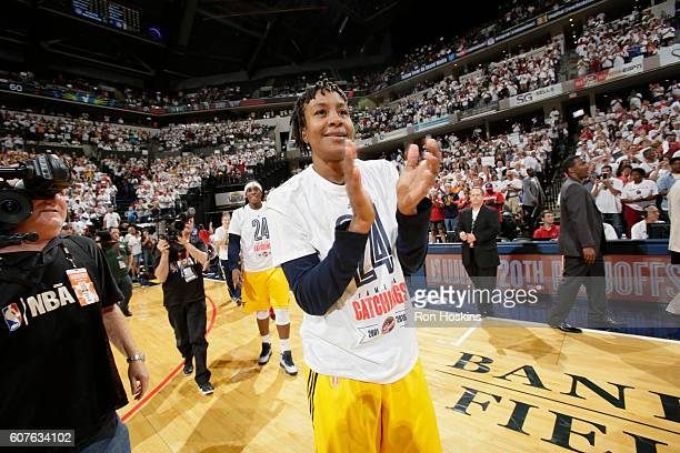 Tamika Catchings of the Indiana Fever celebrates after the game against the Dallas Wings on September 18 2016 at Bankers Life Fieldhouse in...