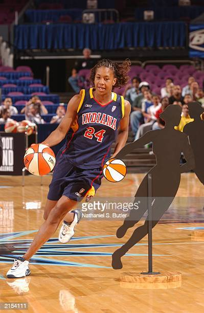 Tamika Catchings of the Indiana Fever drives during the 2003 WNBA AllStar Skills Competition on July 11 2003 at Madison Square Garden in New York...