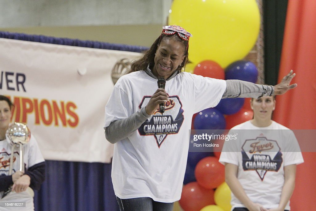 Tamika Catchings of the indiana Fever during the Indiana Fever's WNBA Championship celebration on October 23, 2012 at Bankers Life Fieldhouse in Indianapolis, Indiana.