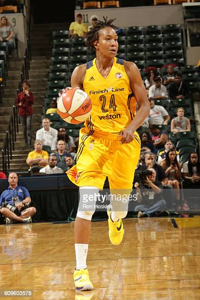 Tamika Catchings of the Indiana Fever handles the ball against the Phoenix Mercury during Round One of the 2016 WNBA Playoffs on September 21 2016 at...