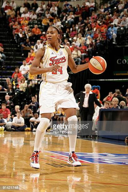 Tamika Catchings of the Indiana Fever looks to shoot against the Phoenix Mercury in Game Three of the WNBA Finals on October 4 2009 at Conseco...