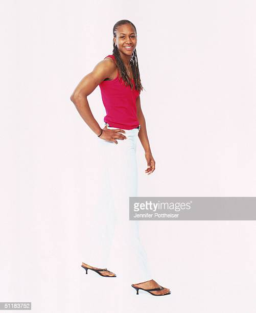 Tamika Catchings of the Indiana Fever poses for a WNBA Portrait at Westin Hotel on August 4 2004 in New York New York NOTE TO USER User expressly...